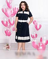 / Размер 48,50,52,54,56,58,60 / Женское платье-рубашка с кружевными вставками / 099-синий