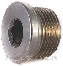 Пробка (заглушка) для труб резьбовая цилиндрическая с фланцем и внутренним шестигранником DIN 908  от М8 - М36