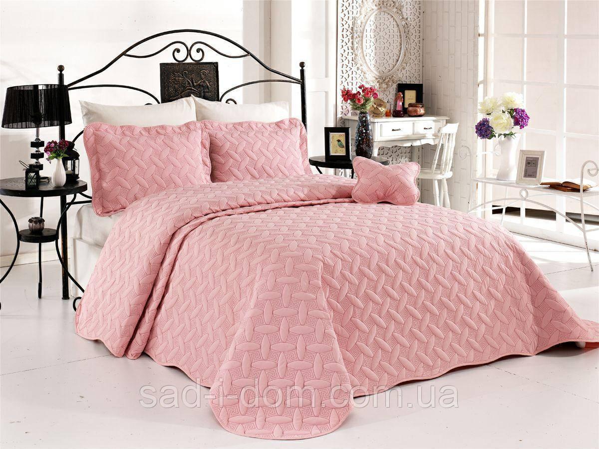 Хлопковое покрывало с наволочками, стеганое покрывало 250*260 см, розовый