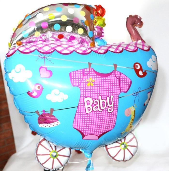 Кулька фігурний надувний, КОЛЯСОЧКА рожева 01 - 70 см