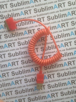 Usb кабель портативный на пружине для iPhone, iPod, iPad 30 pin (алый), фото 2