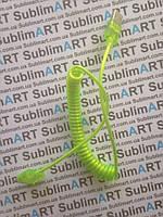 Usb кабель портативный на пружине для iPhone, iPod, iPad 30 pin (салатовый)