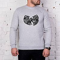 Мужской спортивный серый свитшот, кофта, лонгслив, реглан Wu-Tang, Реплика