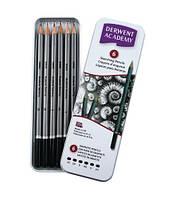 Набор графитных карандашей Academy 6шт. мет коробка Derwent