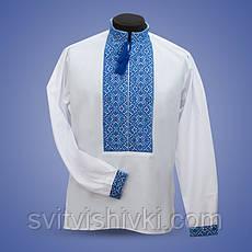 Вышитая мужская сорочка на черном батисте синими нитками , фото 3