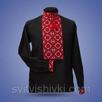 Вышитая мужская сорочка на черном батисте синими нитками , фото 2