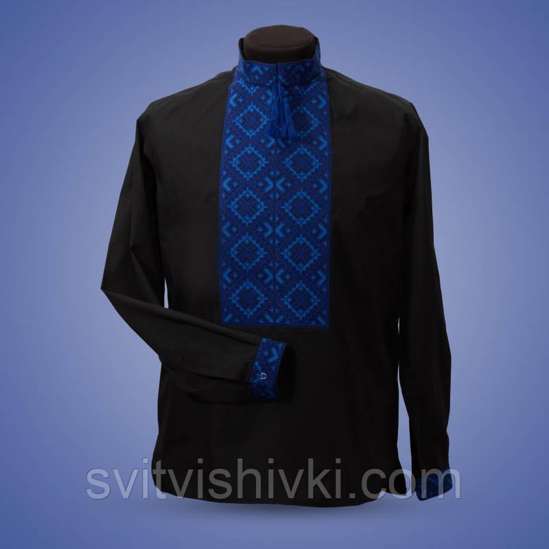 Вышитая мужская сорочка на черном батисте синими нитками