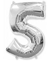"""Фольгированная цифра """"5"""" FLEXMETAL СЕРЕБРО - 100 см (42 дюйма)"""