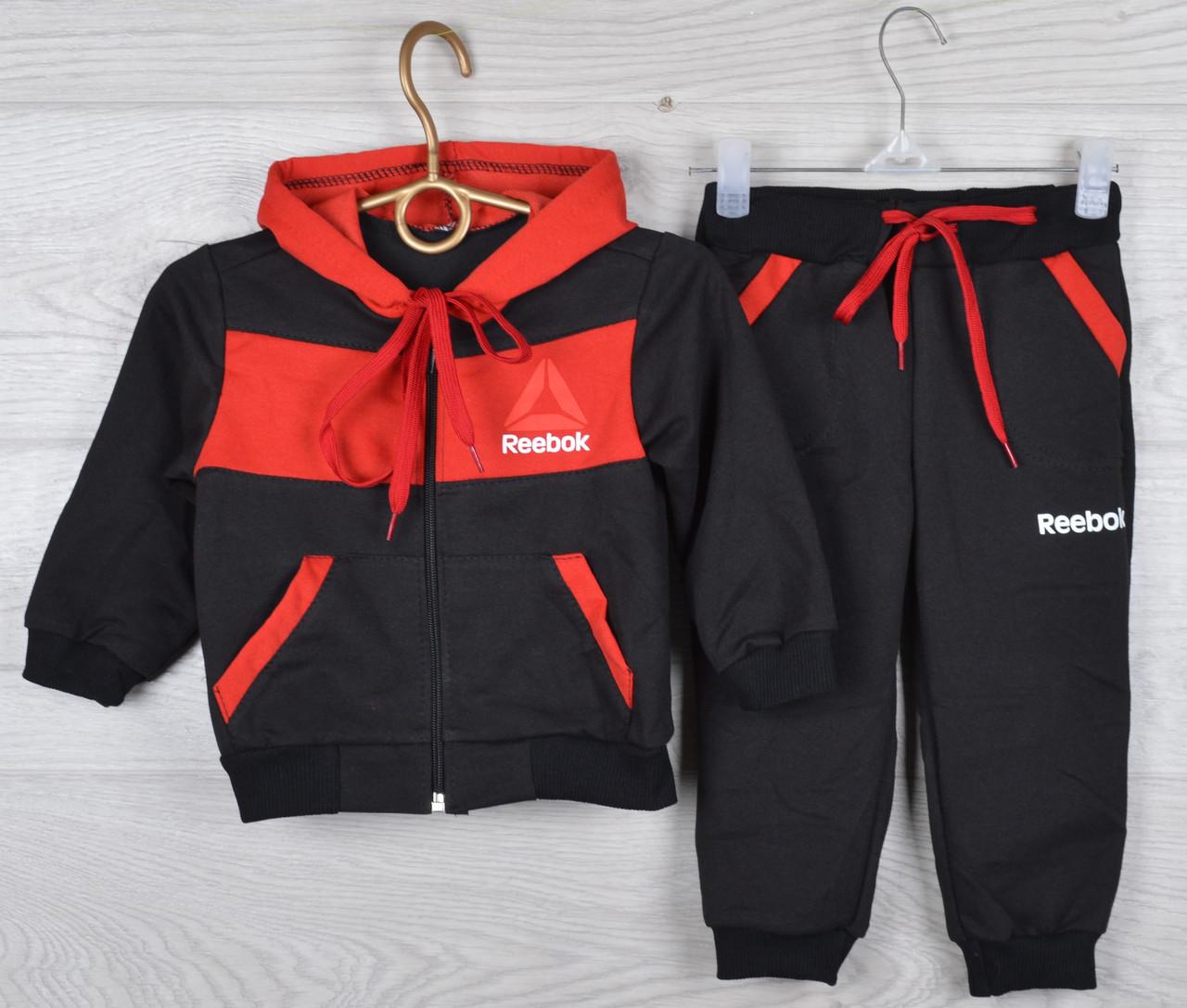 """Спортивный костюм детский """"Reebok реплика"""" 1-2-3-4-5 лет (86-110 см). Черный с красным. Оптом"""