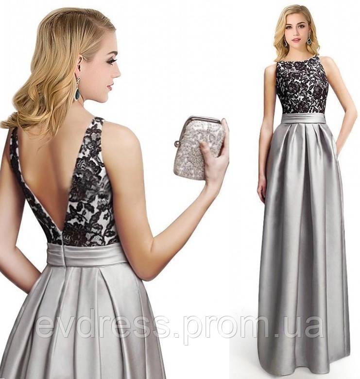 5ea305c74a0 Вечернее Длинное Платье Серебристо Серого Цвета DL-19508 - Интернет-магазин  ev-dress
