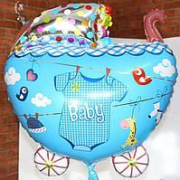 Кулька фігурний надувний, КОЛЯСОЧКА блакитна 01 - 70 см