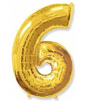 """Фольгована цифра """"6"""" FLEXMETAL ЗОЛОТО - 100 см (42 дюйми)"""
