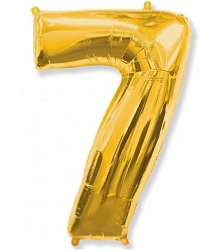 """Фольгированная цифра """"7"""" FLEXMETAL ЗОЛОТО - 100 см (42 дюйма)"""
