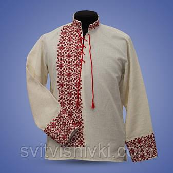 Вышитая  мужская сорочка на лене с красной вышивкой , фото 2