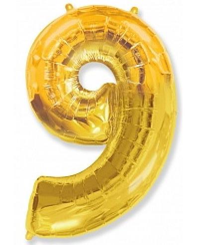 """Фольгированная цифра """"9"""" FLEXMETAL ЗОЛОТО - 100 см (42 дюйма)"""