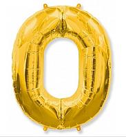 """Фольгированная цифра """"0"""" FLEXMETAL ЗОЛОТО - 100 см (42 дюйма)"""