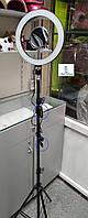 Кольцевая лампа led, лампа селфи косметологическая на штативе с зеркалом
