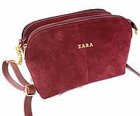 """Жіночий клатч """"Zara"""", замшевий, на 3 відділення, стильний, бордовий, 000192"""