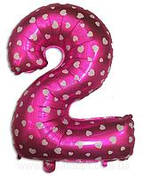 "Фольгована цифра ""2"", РОЖЕВА В СЕРДЕЧКО - 70 см (32 дюйми)"