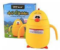 Детская бутылочка поилка с трубочкой в силиконовой защите Duck