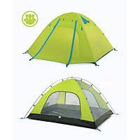 Палатка 4-х местная с алюминиевыми стойками P-Series 210T65D 210х(210+55)см, вес 2,3кг синяя