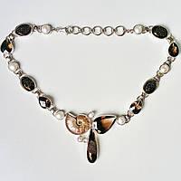 Колье серебряное с раухтопазом (дымчатый кварц) и аммонитом натуральные камни