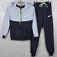 """Спортивный костюм детский """"Nike реплика"""" 6-7-8-9-10 лет (116-140 см). Темно-синий с серым. Оптом"""