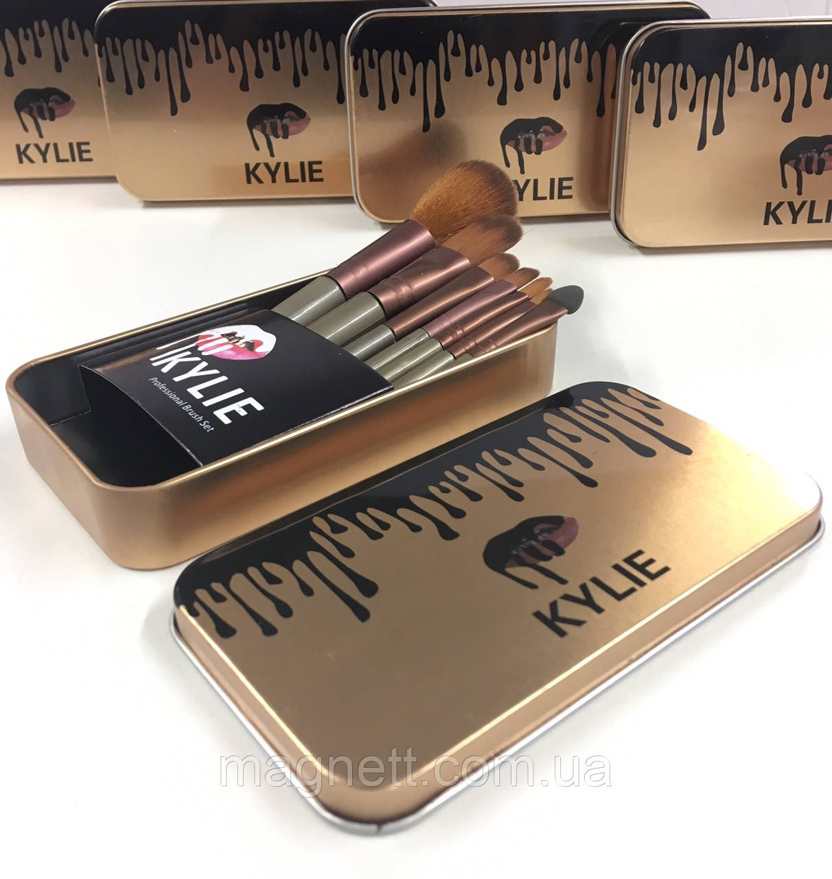 Профессиональный набор кистей для макияжа Kylie Jenner 7 шт (золотая металлическая упаковка)