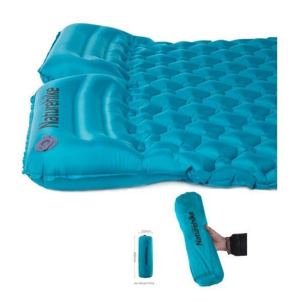 Матрас надувной двойной с подушками Nature Hike ULTRALIGH TPU 185x115x5см, вес 0,96 кг синий