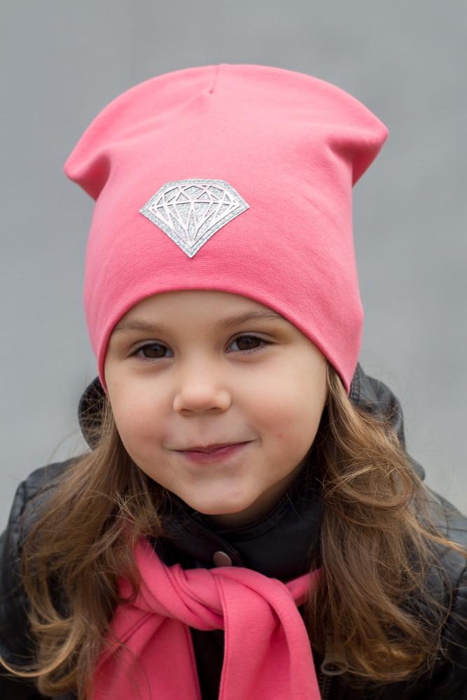 №221 Детская двойная трикотажная шапка Кристалл (р.52-55) 4-8 лет - т.малина, св.розовый,коралл