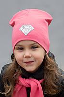 №221 Детская двойная трикотажная шапка Кристалл (р.52-55) 4-8 лет - т.малина, св.розовый,коралл, фото 1