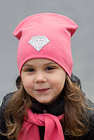 Детская двойная трикотажная шапка Кристалл (р.52-55) 4-8 лет - малина, св.розовый,коралл, пудра