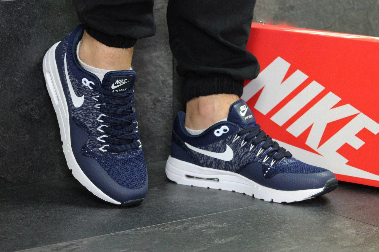 346d4fc0 Мужские кроссовки Nike Air Max 1 Flyknit Blue, синие. Код товара : KS 346