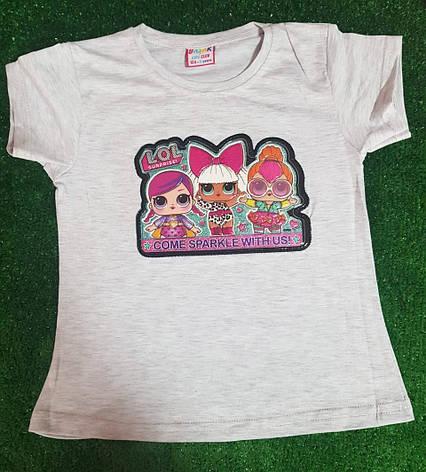 Детская Летняя футболка с принтом для девочки ЛОЛ 1-4 года, фото 2