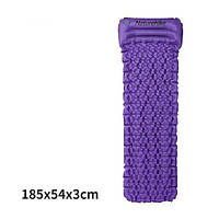 Матрас надувной с подушкой Nature Hike ULTRALIGH TPU 185x54x3см. Вес 460гр, фиолет
