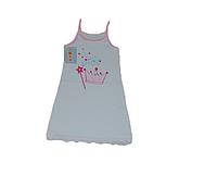 Детский трикотажный сарафан для девочки на бретелях с короной (100% хлопок)