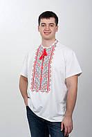 Футболка вышиванка мужская с красно-черной вышивкой, фото 1