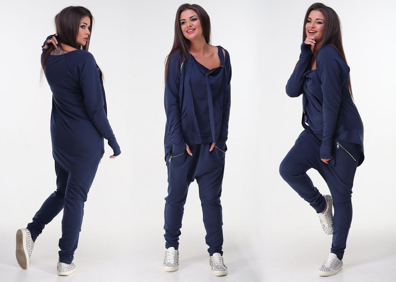 5c5760c3777 Женский стильный спортивный костюм двухнить до больших размеров 343
