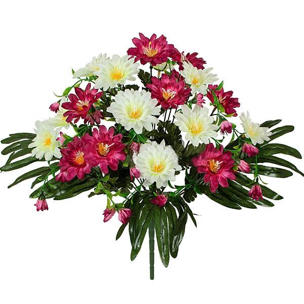 Букет хризантема на папоротнике, 42см  (8 шт в уп)