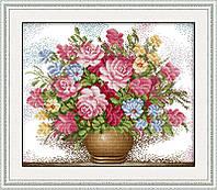 Набор для вышивки крестом Идейка Розовые розы в вазе (ide_H005) 47 х 41 см