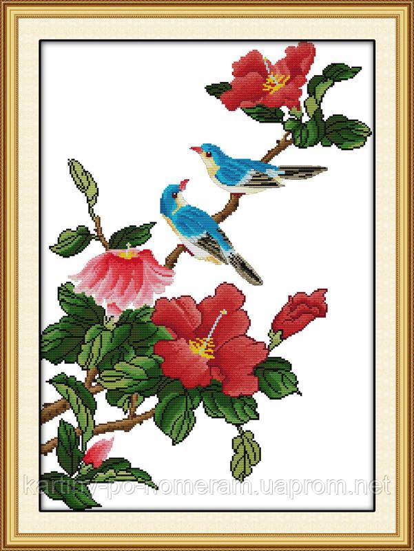 Вышивание крестом Идейка Птички на ветке (ide_H009) 45 х 60 см
