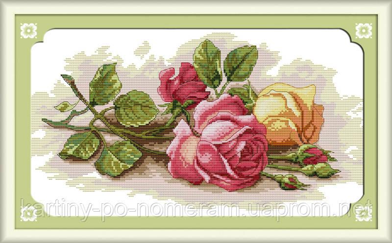Набор для вышивки крестом Идейка Цветные розы (ide_H091) 45 х 29 см