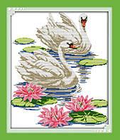 Набор вышивка крестом Идейка Лебеди на пруду (ide_D229) 40 х 47 см