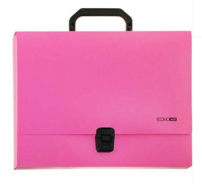 Портфель пластиковый А4 на застежке, 1 отделение, розовый E31607-09