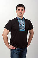 Вышитая футболка мужская чёрная голубая вышивка, фото 1