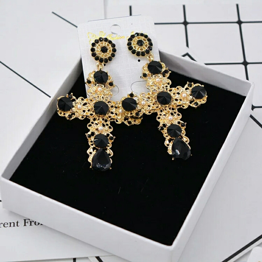 Сережки Дольче Габанна (Dolce&Gabanna) черные кресты