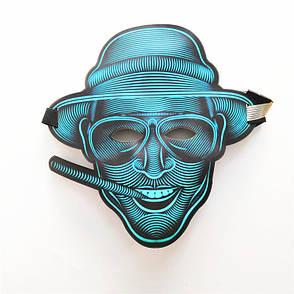 Маска светящаяся под музыку! Звуковая светодиодная маска Страх и ненависть Лас-Вегаса, фото 2
