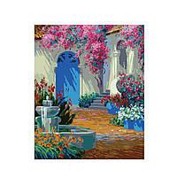Картина по номерам Роспись на холсте Фонтан во дворе MG1092 40*50 см