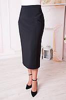 Классическая женская юбка больших размеров Людмила черная