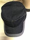 Кепка немка мужская из джинсы на флисе чёрная синяя коричневая 56-57 58 59 60, фото 8